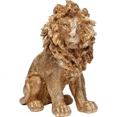 Peça Decorativa Sitting Lion Dourado 42cm