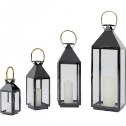 Lanterna Giardino Preto/Dourado (conj. de 4)