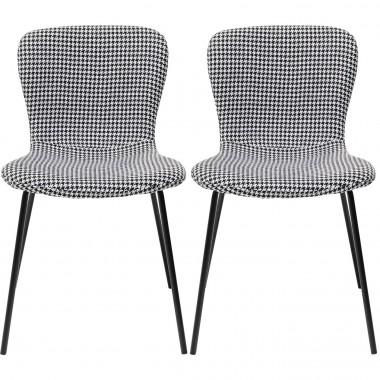 Cadeira Frida Branca e Preta (conjunto de 2)